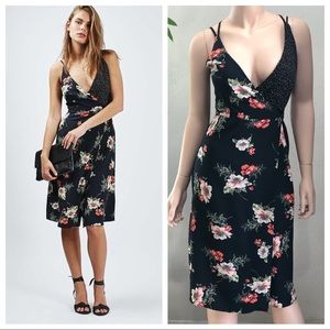 Topshop Floral Wrap Midi Dress Size 2 Black